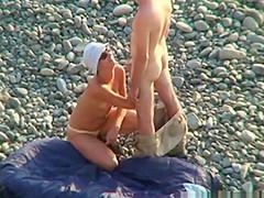 Voyeur on public beach Oral sex