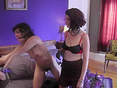 Dominating slut fuck slender brunette with a toy