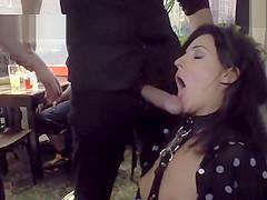 Brunette made lick mistress in public