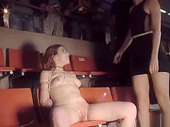 Euro hottie rides cock at Sex Expo