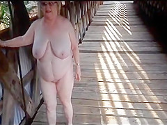 Granny orgasm outdoor