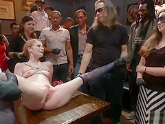 Waxed slave rough banged in public