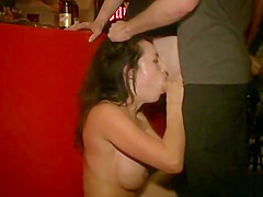 Huge fake tits babe caned in public