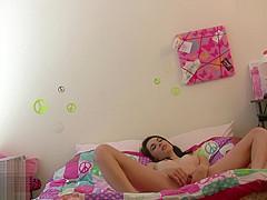 Hidden Cam Catches Emily Grey Masturbating In Bed