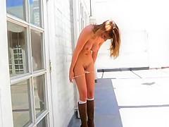 Upskirt bikini tease outdoor