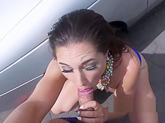 Teen beauty fucks stranger on the bonnet in public