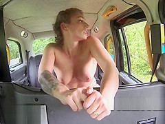 Perfect ass inked babe fucks in fake taxi
