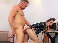 Dads cock fuck Bambi Brooks shaved pussy on top