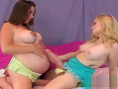 Foxy girls take the biggest strap-ons and spray spunk all aro
