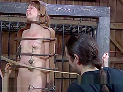 Pretty babe's sweet nipples receives painful torturing-
