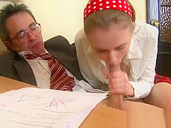 Sweet chick offers her wild pussy for teacher's pleasure
