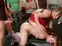 Slave fucked at crowded gym