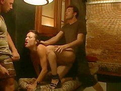 Busty tied slave anal fucked in public