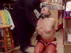 Brunette butt fingered in public shop