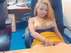Natural beauty of emmafantasy21 on cam. Office role game scene. Natural tits.