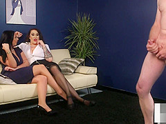 UK voyeurs instructing sub from the couch
