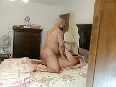 Voyeur husband watches wife fuck BBC bull from closet