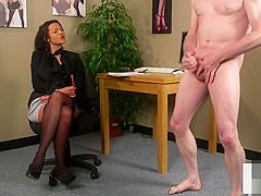 English voyeur instructing guy to tug