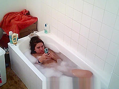 Big tittied college slut Aylie takes a bath