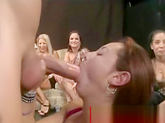Horny ladies love sucking strippers huge cock