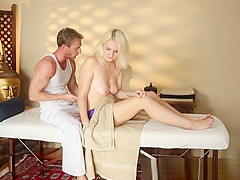 Sexy busty blonde caught fucking masseur