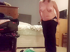 Sexy busty blonde milf caught naked again on hidden camera