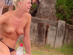 Hard bodied toned blonde with pierced nipples