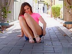 Flexible teen in public
