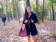 Walking NO PANTIES in Pantyhose #PUBLIC Autumn Park