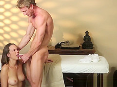 Massage loving babe tastes cum after bj