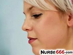 Blond legal age teenager Kristina Rud wears nurse uniform