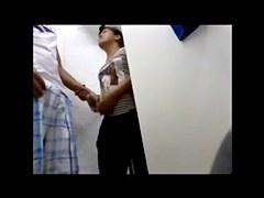 Flashing his cock on horny saleswoman