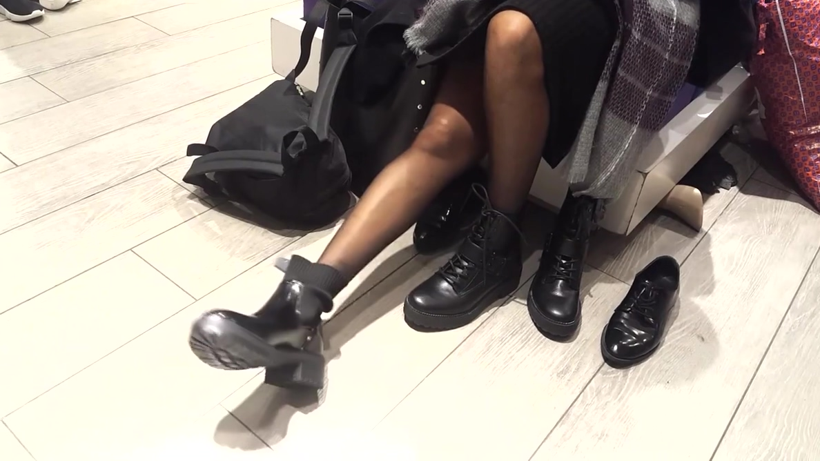 gf's boot shopping pantyhosed legs feets