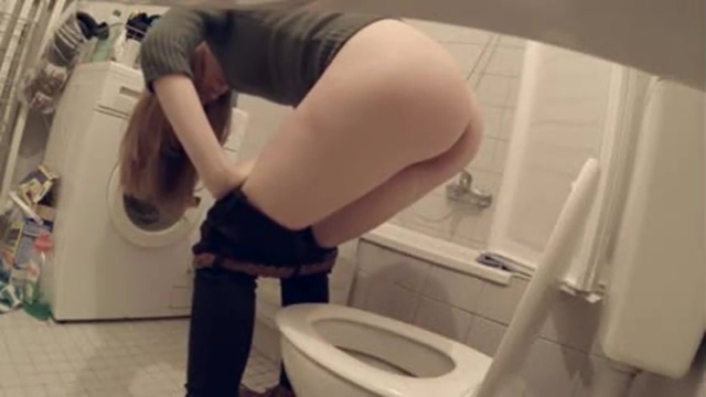 Private house WC pee voyeur