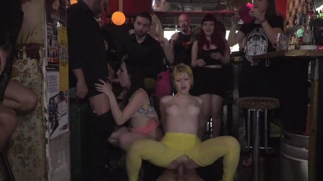 Two slaves fucking in public bar