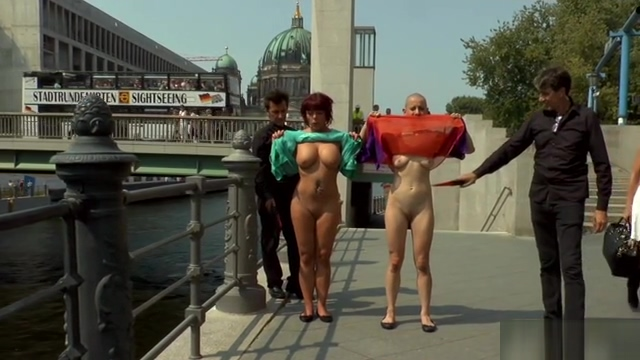 German slaves flashing in public street