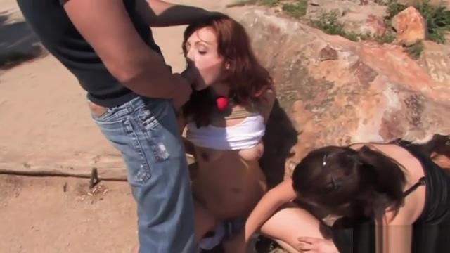 Redhead slave throat banged outdoor